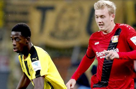 DEMBELE Team Borussia Dortmund mit BRANDT Julian DFL Fussball Bundesliga Saison 2016-2017 Spiel Bayer 04 Leverkusen - Borussia Dortmund 2 : 0 am 01. Oktober 2016 in Leverkusen PUBLICATIONxINxGERxSUIxAUTxHUNxSWExNORxDENxFINxONLY  Dembele team Borussia Dortmund with Brandt Julian DFL Football Bundesliga Season 2016 2017 Game Bayer 04 Leverkusen Borussia Dortmund 2 0 at 01 October 2016 in Leverkusen PUBLICATIONxINxGERxSUIxAUTxHUNxSWExNORxDENxFINxONLY