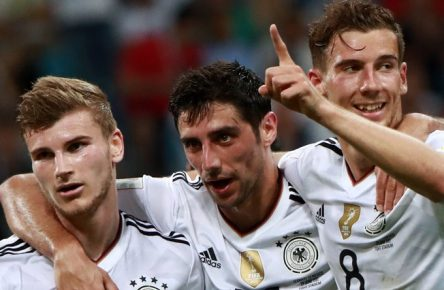 SOCHI, RUSSIA - JUNE 29, 2017: Germany s Timo Werner, Lars Stindl, and Leon Goretzka (L-R) celebrate scoring in their 2017 FIFA Confederations Cup semifinal football match against Mexico at Fisht Stadium. Sergei Fadeichev/TASS PUBLICATIONxINxGERxAUTxONLY TS055835  Sochi Russia June 29 2017 Germany s Timo Werner Lars Stindl and Leon Goretzka l r Celebrate Scoring in their 2017 FIFA Confederations Cup Semi-finals Football Match Against Mexico AT Fisht Stage Sergei Fadeichev TASS PUBLICATIONxINxGERxAUTxONLY