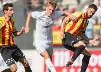 Real Madrid s Philipp Lienhart during the semifinal of the playoff to second division of Spain, Liga Adelante, between Real Madrid Castilla and Lleida Esportiu. Jun 10,2016. PUBLICATIONxINxGERxSUIxAUTxPOLxDENxNORxSWExONLY (20160611026)