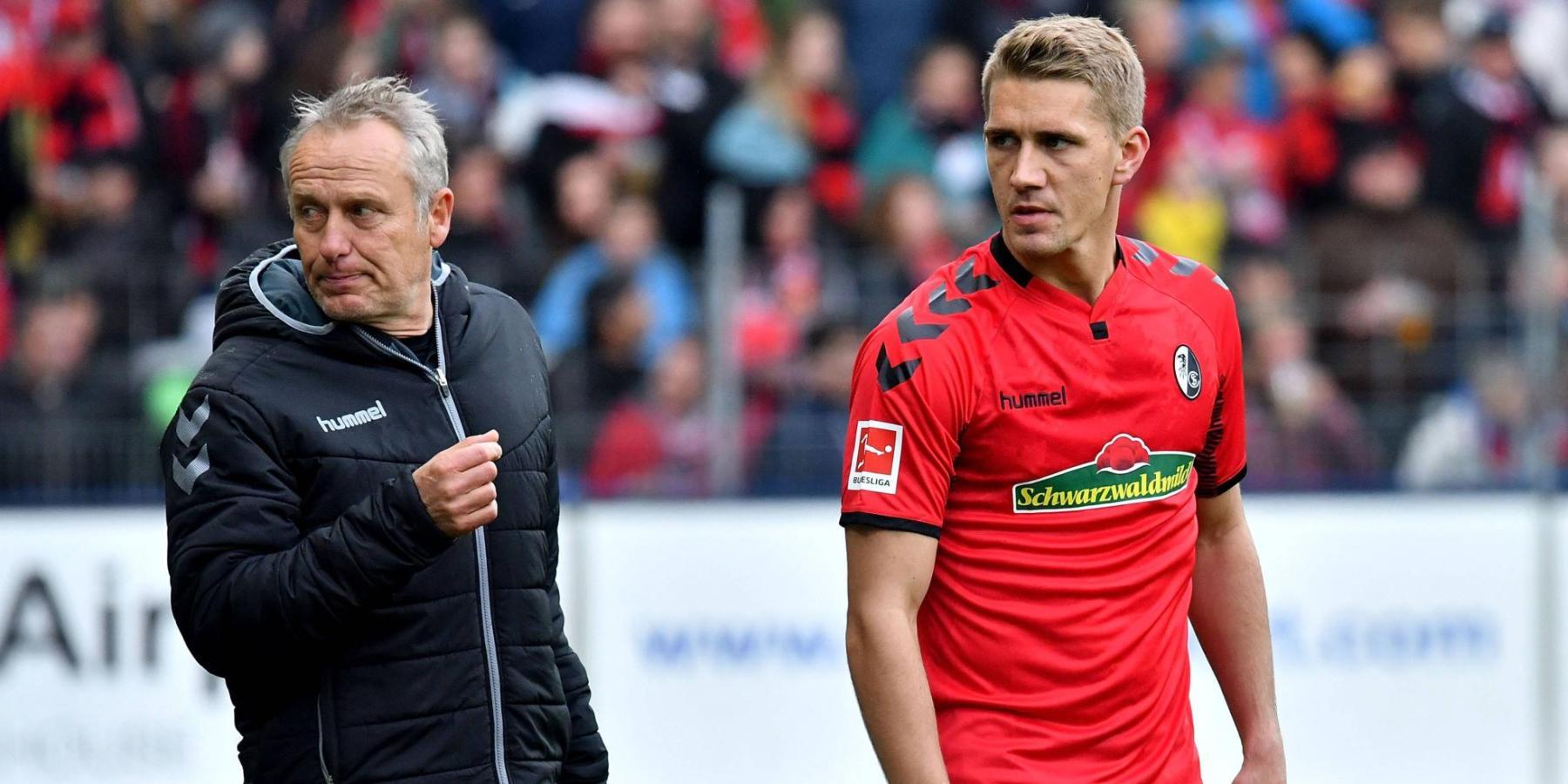 Freiburg-Trainer Christian Streich mit Stürmer Nils Petersen