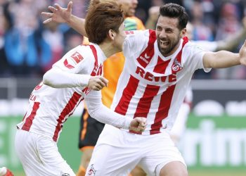 Gut drauf: Yuyo Osako und Claudio Pizarro vom 1. FC Köln