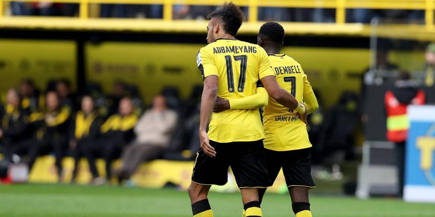 Pierre-Emerick Aubameyang und Ousmane Dembele feierten gegen Bayer ordentlich Party.