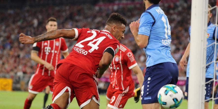 Corentin Tolisso darf sich gleich über sein Tor beim Bundesligadebüt freuen