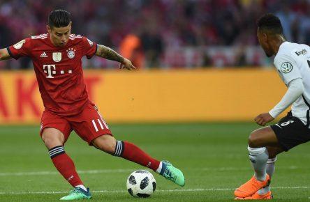 Frankfurts Jonathan de Guzman und Bayerns James Rodriguez