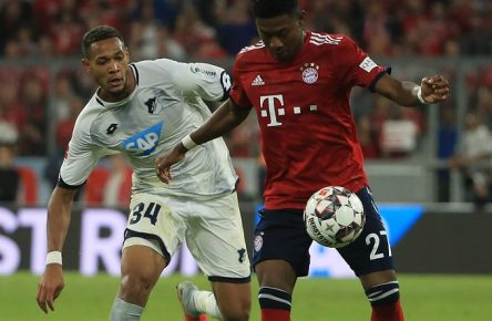 24.08.2018,1.BL,1,Spieltag, FC Bayern Muenchen vs TSG Hoffenheim, Allianz Arena Muenchen, Fussball, im Bild: Joelinton (TSG Hoffenheim) vs David Alaba (FCB) DFL REGULATIONS PROHIBIT ANY USE OF PHOTOGRAPHS AS IMAGE SEQUENCES AND / OR QUASI VIDEO. *** 24 08 2018 1 BL 1 Gameday FC Bayern Muenchen vs TSG Hoffenheim Allianz Arena Muenchen Soccer Sport im Bild Joelinton TSG Hoffenheim vs David Alaba FCB DFL REGULATIONS PROHIBIT ANY USE OF PHOTOGRAPH AS IMAGE SEQUENCES AND OR QUASI VIDEO