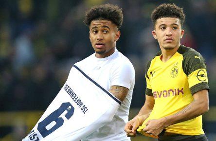 Reiss Nelson (Hoffenheim) und Jadon Sancho (Dortmund)
