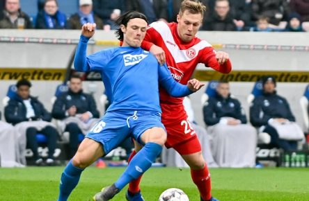 GER, 1 FBL, TSG 1899 Hoffenheim vs Fortuna Duesseldorf / 02.02.2019, Rhein-Neckar-Arena, Sinsheim, GER, 1 FBL, TSG 1899 Hoffenheim vs Fortuna Duesseldorf, DFL REGULATIONS PROHIBIT ANY USE OF PHOTOGRAPHS AS IMAGE SEQUENCES AND/OR QUASI-VIDEO. im Bild: Nico Schulz (TSG 1899 Hoffenheim 16), Rouwen Hennings (Fortuna Duesseldorf 28) *** GER 1 FBL TSG 1899 Hoffenheim vs. Fortuna Duesseldorf 02 02 2019 Rhein Neckar Arena Sinsheim GER 1 FBL TSG 1899 Hoffenheim vs. Fortuna Duesseldorf DFL REGULATIONS PROHIBIT ANY USE OF PHOTOGRAPHS AS IMAGE SEQUENCES AND OR QUASI VIDEO Nico Schulz TSG 1899 Hoffenheim 16 Rouwen Hennings Fortuna Duesseldorf 28 nordphotox/xFabisch nordphoto00100