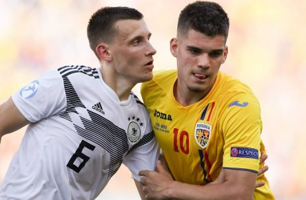 Maximilian Eggestein of Germany tussles with Ianis Hagi of Romania during the UEFA Under-21 Championship match at Renato Dall Ara, Bologna. Picture date: 27th June 2019. Picture credit should read: Jonathan Moscrop/Sportimage PUBLICATIONxNOTxINxUK SPI-0107-0029