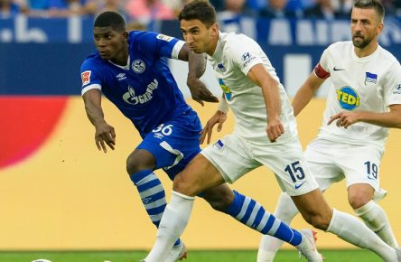 Marko Grujic (Hertha BSC 15) und Kapitaen Vedad Ibisevic (Hertha BSC 19) im Zweikampf gegen Breel Embolo (FC Schalke 04 36) beim Bundesligaspiel zwischen dem FC Schalke 04 und Hertha BSC am 02.09.2018 DFL regulations prohibit any use of photographs as image sequences and/or quasi-video. FC Schalke 04 vs Hertha BSC, Fussball Bundesliga, 02.09.2018 Gelsenkirchen *** Marko Grujic Hertha BSC 15 and captains Vedad Ibisevic Hertha BSC 19 in a duel against Breel Embolo FC Schalke 04 36 at the Bundesliga match between FC Schalke 04 and Hertha BSC on 02 09 2018 DFL regulations prohibit any use of images as image sequences or quasi video FC Schalke 04 vs Hertha BSC Football Bundesliga 02 09 2018 Gelsenkirchen Copyright: xEIBNER/JoergxSchuelerx EP_EER