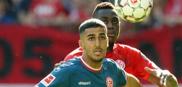 Aymen Barkok (8, Fortuna Duesseldorf), Moussa Niakhate (19, Mainz 05), Fussball, 1. Bundesliga: 1. FSV Mainz 05 - Fortuna Düsseldorf, 30. Spieltag am 20.04.2019 in der Opel Arena Mainz, xmdx, ** Gemäß den Vorgaben der DFL Deutsche Fußball Liga ist es untersagt, in dem Stadion und/oder vom Spiel angefertigte Fotoaufnahmen in Form von Sequenzbildern und/oder videoähnlichen Fotostrecken zu verwerten bzw. verwerten zu lassen. // DFL regulations prohibit any use of photographs as image sequences and/or quasi-video. ** 1. FSV Mainz 05 - Fortuna Düsseldorf *** Aymen Barkok 8 Fortuna Duesseldorf Moussa Niakhate 19 Mainz 05 Football 1 Bundesliga 1 FSV Mainz 05 Fortuna Düsseldorf 30 Matchday on 20 04 2019 in the Opel Arena Mainz xmdx According to the rules of the DFL German Football League it is prohibited in the stadium and or to use or have used photographs taken by the game in the form of sequence pictures and or video-like photo series DFL regulations prohibit any use of photographs as image sequences and or quasi video 1 FSV Mainz 05 Fortuna Düsseldorf