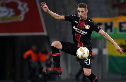 xuhjbx Leverkusen, BayArena, 04.10.18, UEFA EURO EM Europameisterschaft Fussball league: Bayer 04 Leverkusen - AEK LARNACA Bild: Dominik Kohr (Leverkusen) Gemäß den Vorgaben der DFL Deutsche Fußball Liga ist es untersagt, in dem Stadion und/oder vom Spiel angefertigte Fotoaufnahmen in Form von Sequenzbildern und/oder videoähnlichen Fotostrecken zu verwerten bzw. verwerten zu lassen. // DFL regulations prohibit any use of photographs as image sequences and/or quasi-video. Leverkusen *** xuhjbx Leverkusen BayArena 04 10 18 Uefa Euro league Bayer 04 Leverkusen AEK LARNACA Bild Dominik Kohr Leverkusen According to the requirements of the DFL German Football League it is forbidden to exploit or exploit photos taken in the stadium and / or game in the form of sequence pictures and / or video-like photo galleries to let DFL regulations prohibit any use of photographs Leverkusen