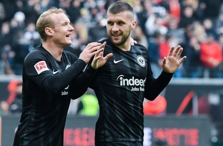02.03.2019, xpsx, Fussball 1.Bundesliga, Eintracht Frankfurt - TSG 1899 Hoffenheim v.l. celebrate the goal, Torjubel zum 1:0 fuer Frankfurt Sebastian Rode (Eintracht Frankfurt),Torschuetze Ante Rebic (Eintracht Frankfurt) (DFL/DFB REGULATIONS PROHIBIT ANY USE OF PHOTOGRAPHS as IMAGE SEQUENCES and/or QUASI-VIDEO) Frankfurt *** 02 03 2019 xpsx Football 1 Bundesliga Eintracht Frankfurt TSG 1899 Hoffenheim v l celebrate the goal Goal celebration to 1 0 for Frankfurt Sebastian Rode Eintracht Frankfurt Scorers Ante Rebic Eintracht Frankfurt DFL DFB REGULATIONS PROHIBIT ANY USE OF PHOTOGRAPHS as IMAGE SEQUENCES and or QUASI VIDEO Frankfurt