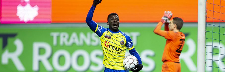 Waasland-Beveren s Nana Opoku Ampomah celebrates during the soccer match between Waasland-Beveren and Club Brugge, Friday 07 December 2018 in Beveren-Waas, on the 18th day of the Jupiler Pro League Belgian soccer championship season 2018-2019. KRISTOFxVANxACCOM PUBLICATIONxINxGERxSUIxAUTxONLY x05484487x