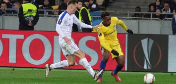 Midfielder Callum Hudson-Odoi (R) of Chelsea FC is seen on the pitch during the UEFA Europa League Round of 16 2nd leg game against FC Dynamo Kyiv at the NSC Olimpiyskiy, Kyiv, capital of Ukraine, March 14, 2019. Dynamo faces Chelsea in UEL Round of 16 2nd leg in Kyiv PUBLICATIONxINxGERxSUIxAUTxHUNxONLY Copyright: xPavlo_Bagmutx