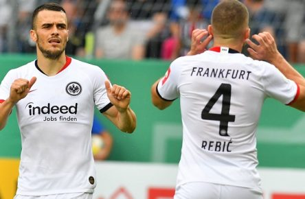 GER, DFB Pokal, 1. Runde, SV Waldhof Mannheim vs. Eintracht Frankfurt / 11.08.2019, Carl-Benz-Stadion, Mannheim, GER, DFB Pokal, 1. Runde, SV Waldhof Mannheim vs. Eintracht Frankfurt, DFL REGULATIONS PROHIBIT ANY USE OF PHOTOGRAPHS AS IMAGE SEQUENCES AND/OR QUASI-VIDEO. im Bild: Ante Rebic (Eintracht Frankfurt 4) jubelt mit Filip Kostic (Eintracht Frankfurt 10) ueber das Tor zum 3:5 *** GER, DFB Cup, 1 Round, SV Waldhof Mannheim vs. Eintracht Frankfurt 11 08 2019, Carl Benz Stadium, Mannheim, GER, DFB Cup, 1 Round, SV Waldhof Mannheim vs. Eintracht Frankfurt, DFL REGULATIONS PROHIBIT ANY USE OF PHOTOGRAPHS AS IMAGE SEQUENCES AND OR QUASI VIDEO in picture Ante Rebic Eintracht Frankfurt 4 cheers with Filip Kostic Eintracht Frankfurt 10 over the gate to 3 5 nordphotox/xFabisch nordphoto00100