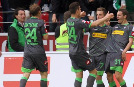 Branimir Hrgota (r.) erzielte damals gegen den FSV Mainz 05 einen Dreierpack.  11 05 2013  1 Bundesliga FSV Mainz 05 Borussia Moenchengladbach v l goal celebration After the goal to 1 4 through Branimir Hrgota Bor Moenchengladbach