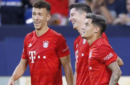 Die beiden sind schon ein dynamisches Trio: Ivan Persic, Robert Lewandwoski und Philippe Coutinho (v.l.n.r.)