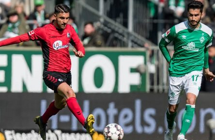 GER, 1.FBL, Werder Bremen vs SC Freiburg / 13.04.2019, Weserstadion, Bremen, GER, 1.FBL, Werder Bremen vs SC Freiburg DFL REGULATIONS PROHIBIT ANY USE OF PHOTOGRAPHS AS IMAGE SEQUENCES AND/OR QUASI-VIDEO. im Bild / picture shows Vincenzo Grifo (SC Freiburg 32), Nuri Sahin (Werder Bremen 17), *** GER 1 FBL Werder Bremen vs SC Freiburg 13 04 2019 Weserstadion Bremen GER 1 FBL Werder Bremen vs SC Freiburg DFL REGULATIONS PROHIBIT ANY USE OF PHOTOGRAPHS AS IMAGE SEQUENCES AND OR QUASI VIDEO picture shows Vincenzo Grifo SC Freiburg 32 Nuri Sahin Werder Bremen 17 nordphotox/xEwert nph00301