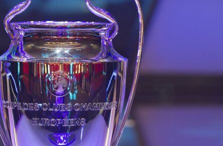 Monaco, Monte Carlo - August 29, 2019: UEFA Champions League Group Stage Draw and Player of the Year Awards, Season Kick Off 2019-2020 Atmosphere with Trophy 2019/2020 UEFA Champions League Group Stage Draw in Monaco