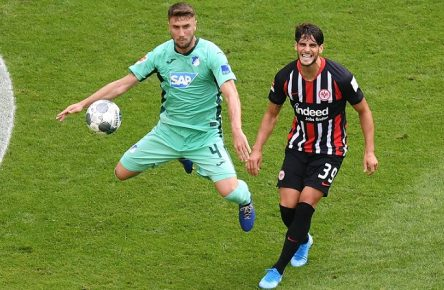 18.08.2019, xmhx, Fussball 1.Bundesliga, Eintracht Frankfurt - TSG 1899 Hoffenheim emspor, v.l. Ermin Bicakcic (1899 Hoffenheim), Goncalo Paciencia (Eintracht Frankfurt) (DFL/DFB REGULATIONS PROHIBIT ANY USE OF PHOTOGRAPHS as IMAGE SEQUENCES and/or QUASI-VIDEO) Frankfurt am Main *** 18 08 2019, xmhx, Soccer 1 Bundesliga, Eintracht Frankfurt TSG 1899 Hoffenheim emspor, v l Ermin Bicakcic 1899 Hoffenheim , Goncalo Paciencia Eintracht Frankfurt DFL DFB REGULATIONS PROHIBIT ANY USE OF PHOTOGRAPHS as IMAGE SEQUENCES and or QUASI VIDEO Frankfurt am Main