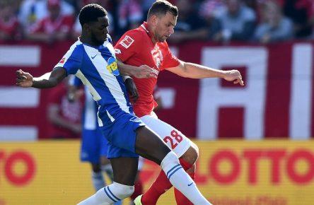 14.09.2019, xfux, Fussball 1.Bundesliga, FSV Mainz 05 - Hertha BSC Berlin, azspor, emspor, v.l. Jordan Torunarigha (Hertha BSC Berlin), Adam Szalai (FSV Mainz 05) (DFL/DFB REGULATIONS PROHIBIT ANY USE OF PHOTOGRAPHS as IMAGE SEQUENCES and/or QUASI-VIDEO) Mainz *** 14 09 2019, xfux, Football 1 Bundesliga, FSV Mainz 05 Hertha BSC Berlin, azspor, emspor, v l Jordan Torunarigha Hertha BSC Berlin , Adam Szalai FSV Mainz 05 DFL DFB REGULATIONS PROHIBIT ANY USE OF PHOTOGRAPHS as IMAGE SEQUENCES and or QUASI VIDEO Mainz
