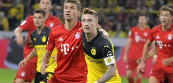 03.08.2019, Fussball 2019/2020, Supercup 2019, Borussia Dortmund - FC Bayern München, im Signal-Iduna-Park Stadion Dortmund, v.li: Thomas Müller (FC Bayern München) gegen Marco Reus (Dortmund). ***DFL and DFB regulations prohibit any use of photographs as image sequences and/or quasi-video.*** *** 03 08 2019, Football 2019 2020, Supercup 2019, Borussia Dortmund FC Bayern Munich, at Signal Iduna Park Stadion Dortmund, left Thomas Müller FC Bayern Munich vs. Marco Reus Dortmund DFL and DFB regulations prohibit any use of photographs as image sequences and or quasi video