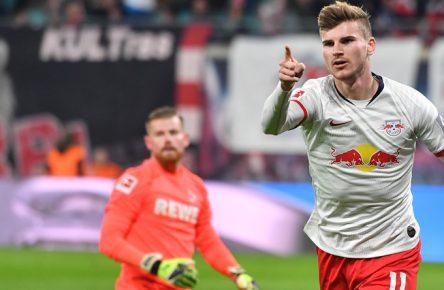 Timo Werner jubelt für RB Leipzig gegen den 1. FC Köln