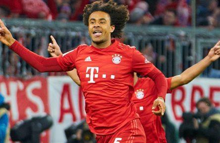 Football FC Bayern Munich - Wolfsburg, Munich Dec 21, 2019. Joshua ZIRKZEE, FCB 35 scores, shoots goal for 1-0 and celebrates his goal, happy, laugh, celebration, Serge GNABRY, FCB 22 Ivan PERISIC, FCB 14 FC BAYERN MUNICH - VFL WOLFSBURG 2-0 - DFL REGULATIONS PROHIBIT ANY USE OF PHOTOGRAPHS as IMAGE SEQUENCES and/or QUASI-VIDEO - 1.German Soccer League , Munich, December 21, 2019 Season 2019/2020, match day 17, FCB, München