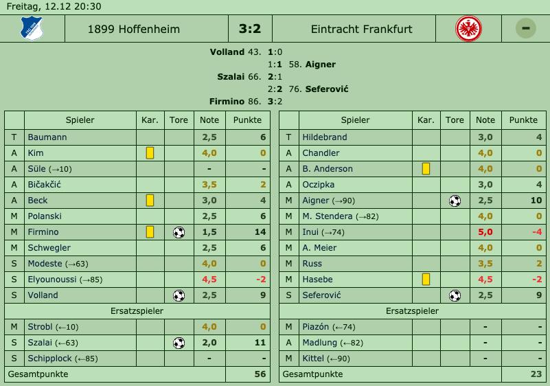 TSG Hoffenheim - Eintracht Frankfurt, 12. Dezember 2014 - 15. Spieltag 2014/15