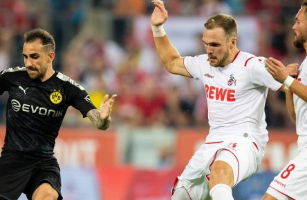 Köln, 23.08.2019 Paco Alcacer (BvB), Rafael Czichos (Köln), Birger Verstraete (Köln) 1. FC Köln - Borussia Dortmund DFL regulations prohibit any use of photographs as image sequences and/or quasi-video *** Cologne, 23 08 2019 Paco Alcacer BvB , Rafael Czichos Köln , Birger Verstraete Köln 1 FC Köln Borussia Dortmund DFL regulations prohibit any use of photographs as image sequences and or quasi video