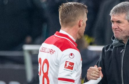 Hoffnungsträger von Fortuna Düsseldorf unter sich: Rouwen Hennings und Friedhelm Funkel