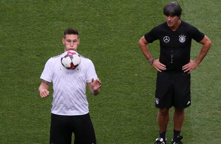 Niklas Süle (Deutschland Germany), Bundestrainer Joachim Loew (Deutschland Germany) - cs 31.08.2017: Abschlusstraining Deutschland in Prag, Marriott Hotel  Niklas Süle Germany Germany German coach Joachim Loew Germany Germany CS 31 08 2017 Conclusion of training Germany in Prague Marriott Hotel
