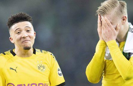 Schlussjubel DO, Jadon SANCHO l. DO mit Erling HAALAND DO, Spass Fussball 1. Bundesliga, 25.Spieltag, Borussia Moenchengladbach MG - Borussia Dortmund DO 1:2, am 07.03.2020 in Moenchengladbach/ Deutschland.  *** Closing celebrations DO, Jadon SANCHO l DO with Erling HAALAND DO , Spass Fussball 1 Bundesliga, 25 Matchday, Borussia Moenchengladbach MG Borussia Dortmund DO 1 2, on 07 03 2020 in Moenchengladbach Germany