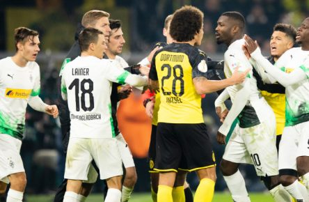 Kopf an Kopf ging es auch im Hinspiel zwischen Dortmund und Mönchengladbach