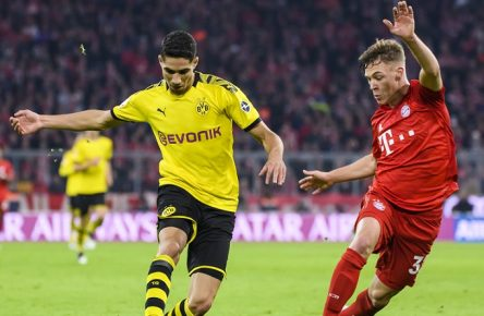 09.11.2019, xkvx, Fussball 1.Bundesliga, FC Bayern Muenchen - Borussia Dortmund emspor, v.l. Achraf Hakimi BVB Borussia Dortmund, Joshua Kimmich FCB - FC Bayern Muenchen DFL/DFB REGULATIONS PROHIBIT ANY USE OF PHOTOGRAPHS as IMAGE SEQUENCES and/or QUASI-VIDEO Muenchen *** 09 11 2019, xkvx, Soccer 1 Bundesliga, FC Bayern Muenchen Borussia Dortmund emspor, v l Achraf Hakimi BVB Borussia Dortmund , Joshua Kimmich FCB FC Bayern Muenchen DFL DFB REGULATIONS PROHIBIT ANY USE OF PHOTOGRAPHS as IMAGE SEQUENCES and or QUASI VIDEO Muenchen