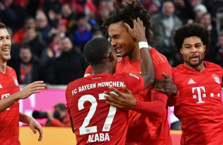 Torjubel um Joshua ZIRKZEE Bayern Muenchen nach Tor zum 1-0 mit David ALABA Bayern Muenchen, re:Serge GNABRY FC Bayern Muenchen, li:Ivan PERISIC Bayern Muenchen. Jubel,Freude,Begeisterung, Fussball 1. Bundesliga,17.Spieltag,Spieltag17, FC Bayern Muenchen M -VFL Wolfsburg 2-0,WOB, am 21.12..2019 in Muenchen A L L I A N Z A R E N A, DFL REGULATIONS PROHIBIT ANY USE OF PHOTOGRAPHS AS IMAGE SEQUENCES AND/OR QUASI-VIDEO. *** Goal celebration for Joshua ZIRKZEE Bayern Muenchen after scoring the goal for the 10th time with David ALABA Bayern Muenchen, Serge GNABRY FC Bayern Muenchen, Ivan PERISIC Bayern Muenchen, joy, enthusiasm, soccer 1 Bundesliga,17 Matchday, Matchday17, FC Bayern M Munich M VFL Wolfsburg 2 0, WOB , on 21 12 2019 in Munich A L L I A N Z A R E N A, DFL REGULATIONS PROHIBIT ANY USE OF PHOTOGRAPHS AS IMAGE SEQUENCES AND OR QUASI VIDEO