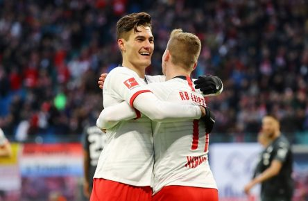 RB Leipzig - Hoffenheim / Fussball Bundesliga Leipzig, 07.12.2019, Red Bull Arena, Fussball, Bundesliga, 14.Spieltag , RB Leipzig vs. TSG 1899 Hoffenheim 3:1 1:0 , Tor für RB Leipzig. Im Bild v.l.: Patrick Schick 21, RB Leipzig und 1:0 Torschütze Timo Werner 11, RB Leipzig. , DFL regulations prohibit any use of photographs as image sequences and/or quasi-video. , *** RB Leipzig Hoffenheim Fussball Bundesliga Leipzig, 07 12 2019, Red Bull Arena, Fussball, Bundesliga, 14 Spieltag , RB Leipzig vs TSG 1899 Hoffenheim 3 1 1 0 , Tor für RB Leipzig Im Bild v l Patrick Schick 21, RB Leipzig und 1 0 Torschütze Timo Werner 11, RB Leipzig , DFL regulations prohibit any use of photographs as image sequences and or quasi video ,