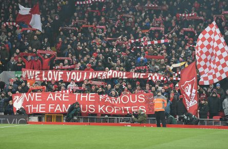 LIVERPOOL, ENGLAND - MARCH 03:  (THE SUN OUT, THE SUN ON SUNDAY OUT) Banners in the Crowd of Liverpool during the Premier League match between Liverpool and Newcastle United at Anfield on March 3, 2018 in Liverpool, England.  (Photo by John Powell/Liverpool FC via Getty Images)