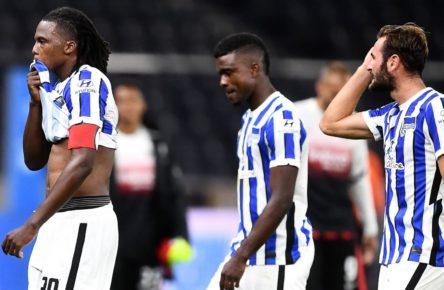 Dedryck Boyata, Jhon Cordoba und Lucas Tousart von Hertha BSC