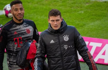 Corentin Tolisso FC Bayern Muenchen 24, Benjamin Pavard FC Bayern Muenchen 05, GER, FC Bayern Muenchen vs. Hertha Berlin, Fussball, Bundesliga, 3. Spieltag, Saison 2020/2021, 04.10.2020, DFB/DFL regulations prohibit any use of photographs as image sequences and/or quasi-video., GER, FC Bayern Muenchen vs. Hertha Berlin, Fussball, Bundesliga, 3. Spieltag, Saison 2020/2021, 04.10.2020 Muenechen *** Corentin Tolisso FC Bayern Muenchen 24 , Benjamin Pavard FC Bayern Muenchen 05 , GER, FC Bayern Muenchen vs Hertha Berlin, Football, Bundesliga, 3 Matchday, Season 2020 2021, 04 10 2020, DFB DFL regulations prohibit any use of photographs as image sequences and or quasi video , GER, FC Bayern Muenchen vs Hertha Berlin, Football, Bundesliga, 3 Matchday, Season 2020 2021, 04 10 2020 Munich Copyright: xEibner-Pressefoto/SaschaxWaltherx EP_EER