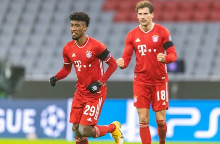 25.11.2020, Allianz Arena, Muenchen, GER, UEFA CL, FC Bayern Muenchen vs FC Red Bull Salzburg, Gruppe A, im Bild Torjubel zum 2:0 durch Kingsley Coman FC Bayern, Leon Goretzka FC Bayern // during the UEFA Champions League group A match between FC Bayern Muenchen and FC Red Bull Salzburg at the Allianz Arena in Muenchen, Germany on 2020/11/25. **** ONLY GERFRAITAESPSUISSEGBR **** Muenchen *** 25 11 2020, Allianz Arena, Muenchen, GER, UEFA CL, FC Bayern Muenchen vs FC Red Bull Salzburg, Group A, in the picture goal celebration for the 2 0 by Kingsley Coman FC Bayern , Leon Goretzka FC Bayern during the UEFA Champions League group A match between FC Bayern Muenchen and FC Red Bull Salzburg at the Allianz Arena in Muenchen, Germany on 2020 11 25 ONLY GER FRA ITA ESP SUISSE GBR Muenchen PUBLICATIONxNOTxINxAUT EP_luk