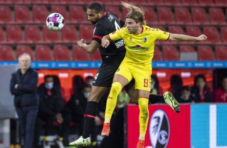 Lucas Höler vom SC Freiburg trifft gegen Leverkusen