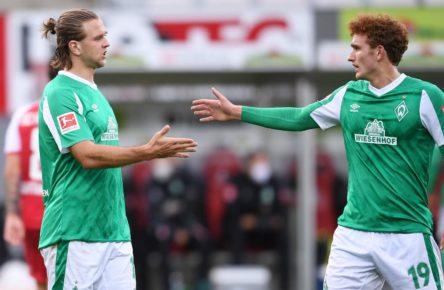 Niclas Füllkrug und Josh Sargent vom SV Werder Bremen
