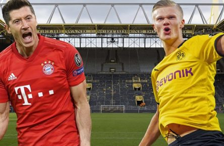 FOTOMONTAGE: Vorschau Borussia Dortmund-FC Bayern Muenchen am 07.11.2020 Aufeinandertreffen der beiden Torgaranten Robert LEWANDOWSKI Bayern Muenchen und Erling HAALAND Borussia Dortmund beim Topduell des 7.Spieltages. Das leere Stadion des BVB nach dem Spiel. Blick ueber den Platz auf die Suedtribuene. Fussball 1. Bundesliga, 30. Spieltag, Borussia Dortmund DO - Hamburger SV HH, 3:0, am 17.04.2016 in Dortmund / Deutschland.  *** PHOTOMONTAGE Preview Borussia Dortmund FC Bayern Muenchen on 07 11 2020 Meeting of the two goalkeepers Robert LEWANDOWSKI Bayern Muenchen and Erling HAALAND Borussia Dortmund at the top duel of the 7 matchday The empty stadium of the BVB after the game View over the field to the south tribune Football 1 Bundesliga, 30 matchday, Borussia Dortmund DO Hamburger SV HH , 3 0, on 17 04 2016 in Dortmund Germany