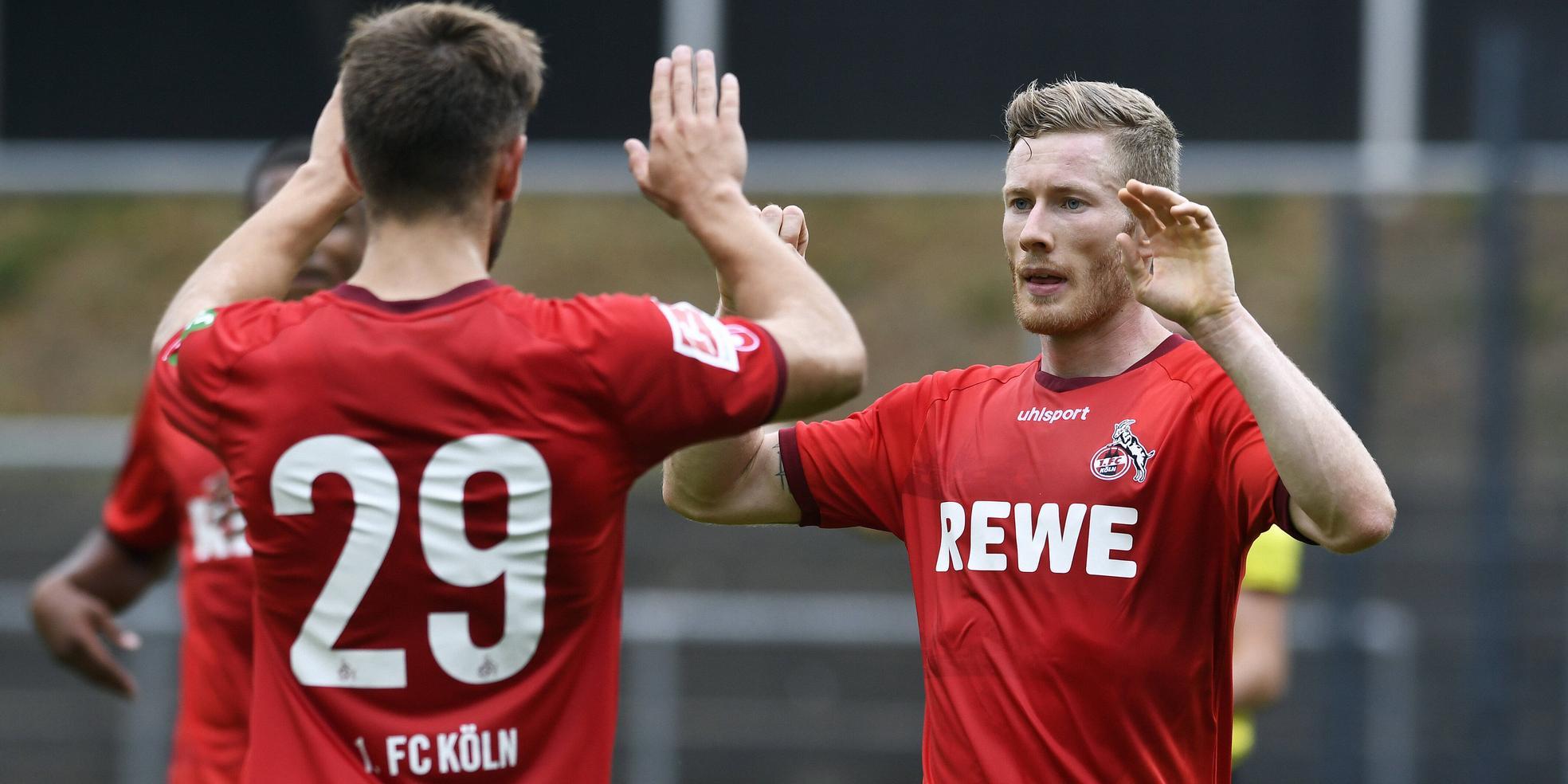 Florian Kainz und Jan Thielmann vom 1. FC Köln