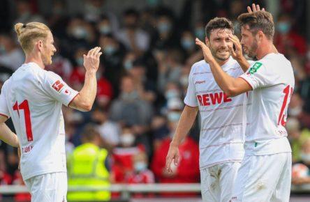 Mark Uth trifft für den 1. FC Köln gegen die Bayern