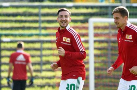 Bereits auf dem Trainingsplatz beim 1. FC Union Berlin: Kevin Möhwald und Bastian Oczipka